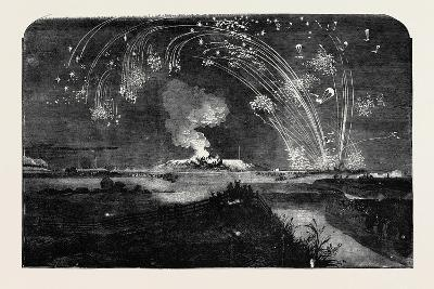 News of the Fall of Sebastopol, Shower of Parachute Rockets and Bonfire, in Woolwich Marshes--Giclee Print