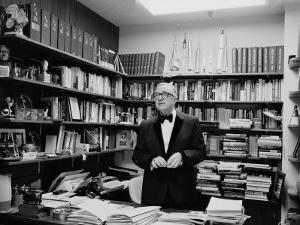 Newsman Walter Cronkite in His Office