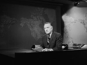 Newsman Walter Cronkite on the Air