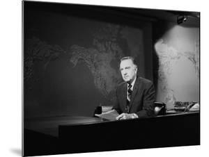 Newsman Walter Cronkite on the Air