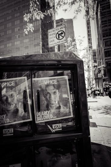 Newspaper box, dearly beloved Prince, Voice Magazine, Streetview, Manhattan, New York, USA-Andrea Lang-Photographic Print
