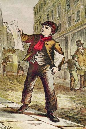 Newspaper Boy--Giclee Print