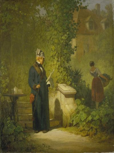 Newspaper Reader in the Garden (Or: Politikus in His Little Garden Having a Coffee), Late 1840s-Carl Spitzweg-Giclee Print