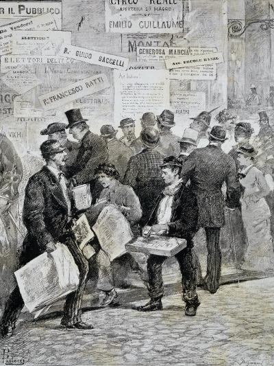 Newspaper Sellers in Rome before Election--Giclee Print