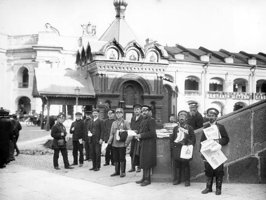 Newspaper Vendors on the Steps of the Duma, St Petersburg, C.Early C20th--Photographic Print