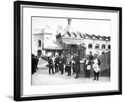 Newspaper Vendors on the Steps of the Duma, St Petersburg, C.Early C20th--Framed Photographic Print