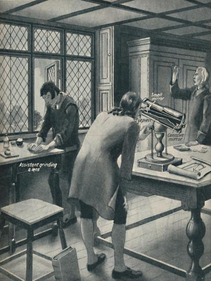'Newton Invents a New Telescope', c1934-Unknown-Giclee Print
