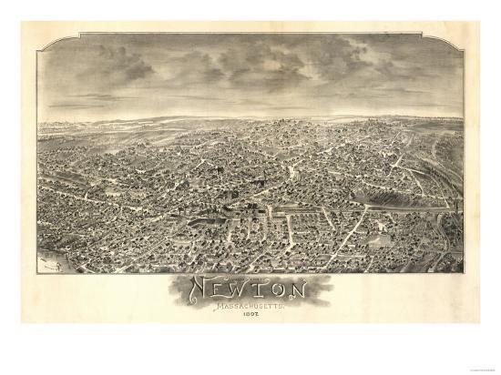 Newton, Massachusetts - Panoramic Map-Lantern Press-Art Print