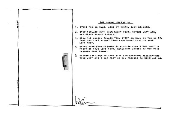 Next to door, there are written extensive instructions on how to open the ? - New Yorker Cartoon-Arnie Levin-Premium Giclee Print