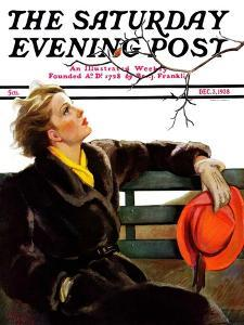 """""""Fall in the Park,"""" Saturday Evening Post Cover, December 3, 1938 by Neysa Mcmein"""