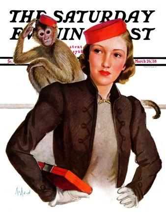 """""""Matching Monkey Hats,"""" Saturday Evening Post Cover, March 26, 1938"""