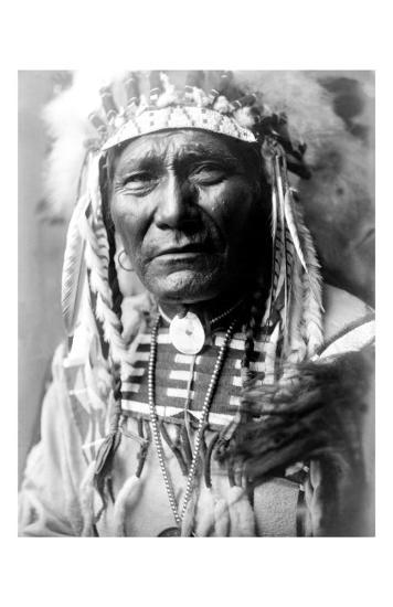 Nez Perc Head Dress-Edward S^ Curtis-Giclee Print