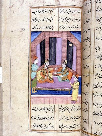 Nezami, Persian poet, recounting the story of Alexander the Great, 12th century (18th century)-Unknown-Giclee Print