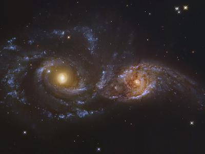 NGC 2207 and Ic 2163, Colliding Galaxies in Canis Majormosaic Data from the Hubble Legacy Archive-Robert Gendler-Photographic Print