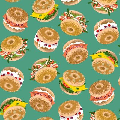 Bagels with Various Topping. Seamless Background Pattern. Vector Illustration