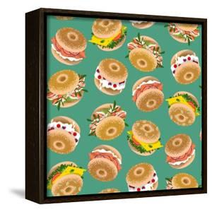 Bagels with Various Topping. Seamless Background Pattern. Vector Illustration by NGvozdeva