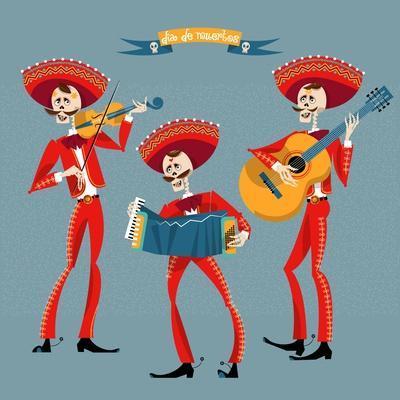 Dia De Muertos. Mariachi Band of Skeletons. Mexican Tradition.