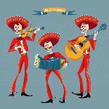 Dia De Muertos. Mariachi Band of Skeletons. Mexican Tradition.-NGvozdeva-Art Print