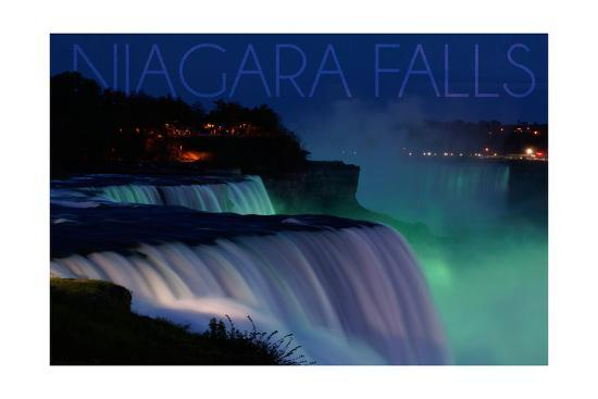 Niagara Falls - Falls and Green Lights at Night-Lantern Press-Art Print