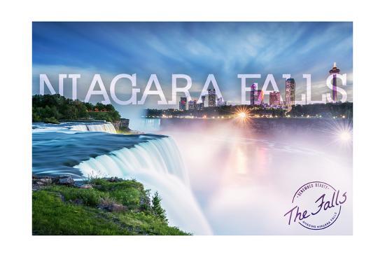 Niagara Falls - Falls and Skyline-Lantern Press-Art Print