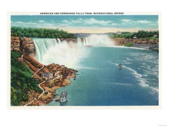 Niagara Falls - International Bridge View of American and Horseshoe Falls-Lantern Press-Art Print