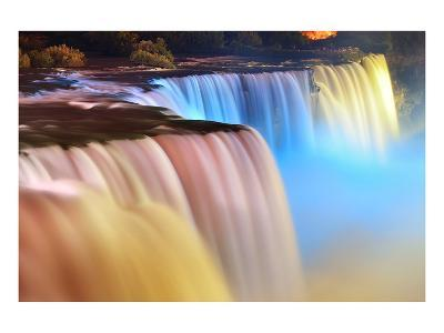 Niagara Falls Lit at Night--Art Print
