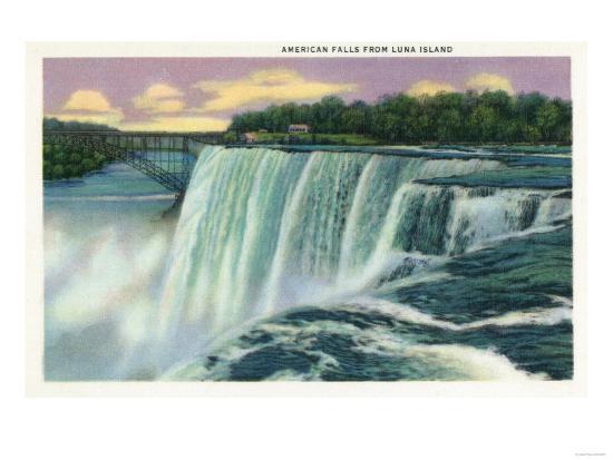 Niagara Falls, New York - Luna Island View of American Falls-Lantern Press-Art Print