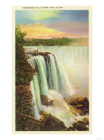 Niagara Falls, New York - View of Horseshoe Falls from Goat Island-Lantern Press-Art Print