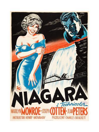 Niagara, L-R: Marilyn Monroe, Joseph Cotten on Danish Poster Art, 1953--Giclee Print