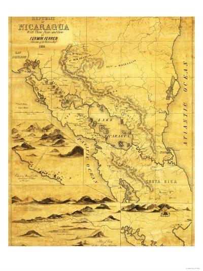 Nicaragua - Panoramic Map-Lantern Press-Art Print