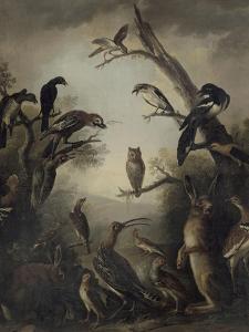 Deux lièvres parmi une grande quantité d'oiseaux. by Nicasius Bernaerts