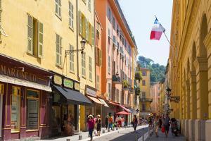 Nice, Cote d'Azur, French Riviera, France. Vieille Ville, the Old Town. View along Rue de la Pre...