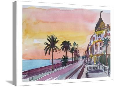 Nice France Seaview At Sunset-M Bleichner-Stretched Canvas Print