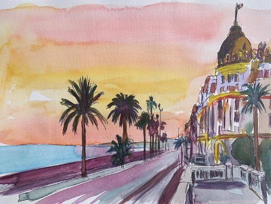 Nice France Seaview Boulevard at Sunset-Markus Bleichner-Art Print