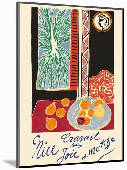 Nice, France - Travail et Joie (Work and Joy) - Still Life with Pomegranates-Henri Matisse-Mounted Art Print