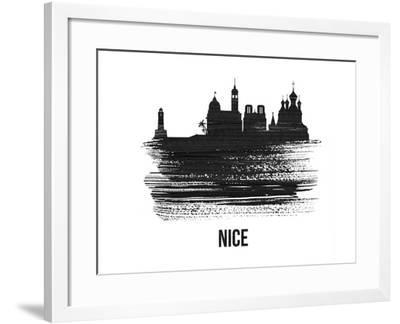 Nice Skyline Brush Stroke - Black II-NaxArt-Framed Art Print