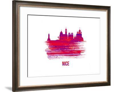 Nice Skyline Brush Stroke - Red-NaxArt-Framed Art Print