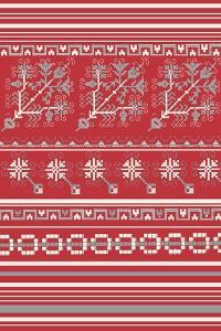 Nordic Cross Stitch Red by Nicholas Biscardi