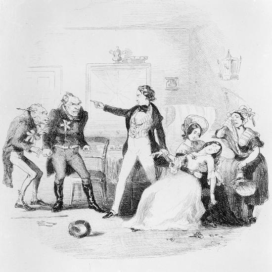Nicholas Congratulates Arthur Gride on His Wedding Morning, Illustration from `Nicholas Nickleby'-Hablot Knight Browne-Giclee Print