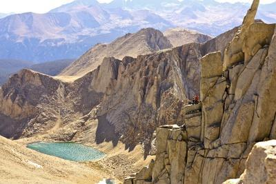Two Climbers Relax After Climbing Mithril Dihedral In The Eastern Sierras Near Mt Whitney