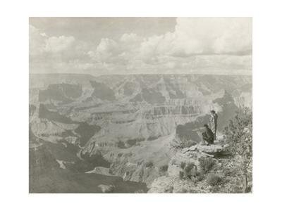 Two Men Look on at the Depths of the Grand Canyon Opposite Pima Point by Nicholas H. Darton
