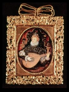 Queen Elizabeth I Playing the Lute (Miniature) by Nicholas Hilliard