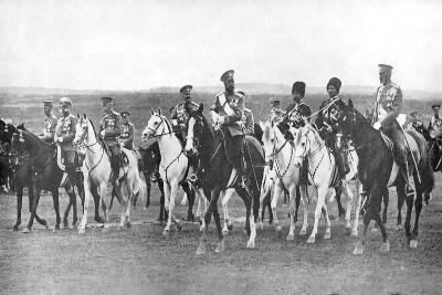 Nicholas II and Supporting Officers on Horseback, C1900--Giclee Print