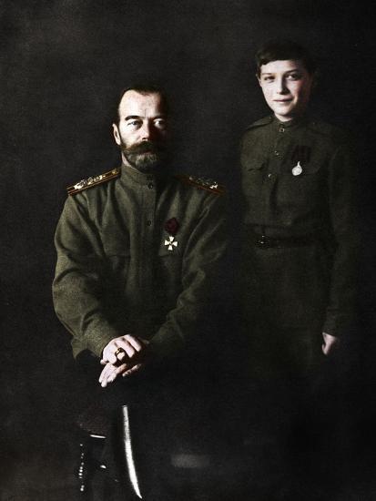 Nicholas II, Tsar of Russia and his son, Alexei, in military uniform, 1915-Unknown-Photographic Print