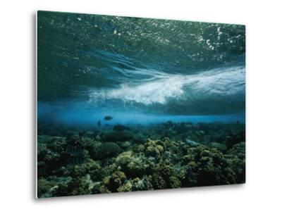 Underwater View of a Wave Breaking over a Reef