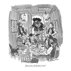 """""""Jazzercise, Lido deck, 4 P.M."""" - New Yorker Cartoon by Nick Downes"""