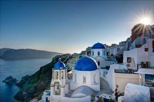 Beautiful blue domes of Santorini, Greece by Nick Jackson