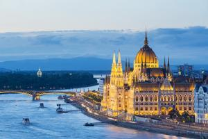 Hungary, Central Hungary, Budapest. Chain Bridge and the Hungarian Parliament Building on the Danub by Nick Ledger