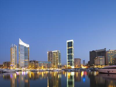 Lebanon, Beirut, the Beirut Skyline from Zaitunay Bay
