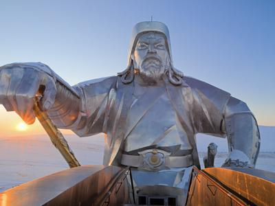 Mongolia, Tov Province, Tsonjin Boldog, a 40M Tall Statue of Genghis Khan on Horseback Stands on To